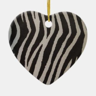 Wild Zebra Print Heart Ceramic Ornament