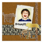 "Wild Zebra Safari Zoo Birthday Photo Invitation 5.25"" Square Invitation Card"