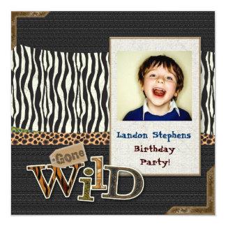 """Wild Zebra Safari Zoo Birthday Photo Invitation 5.25"""" Square Invitation Card"""