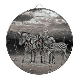 Wild Zebra Socialising in Africa Dartboard With Darts