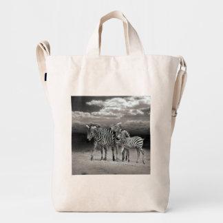 Wild Zebra Socialising in Africa Duck Canvas Bag