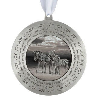 Wild Zebra Socialising in Africa Round Pewter Christmas Ornament