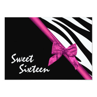 Wild Zebra Stripes and Ribbon Sweet Sixteen Card