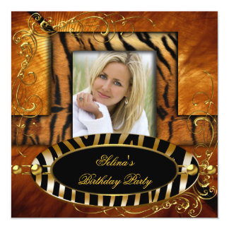 Wild Zebra Tiger Caramel Birthday Party Card