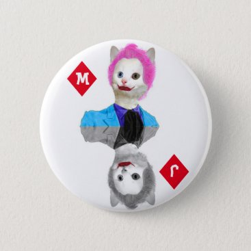Halloween Themed Wildcard Clown Cat - Initials on Diamond Suit Pinback Button