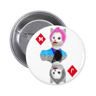 Wildcard Clown Cat - Initials on Diamond Suit Pinback Button