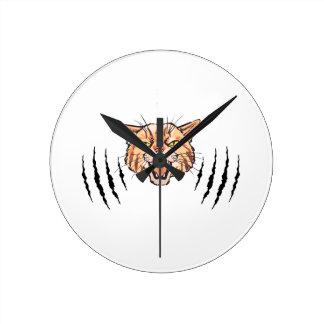 Wildcat Claw Marks Round Clock