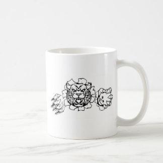 Wildcat Holding Bowling Ball Breaking Background Coffee Mug