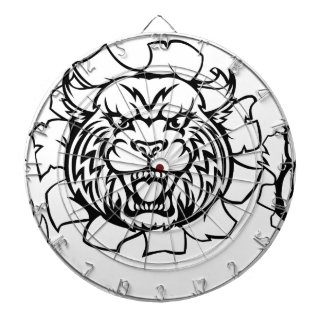 Wildcat Holding Bowling Ball Breaking Background Dartboard With Darts