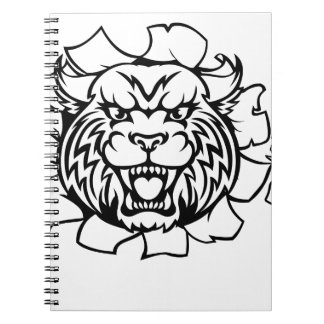 Wildcat Holding Bowling Ball Breaking Background Notebook