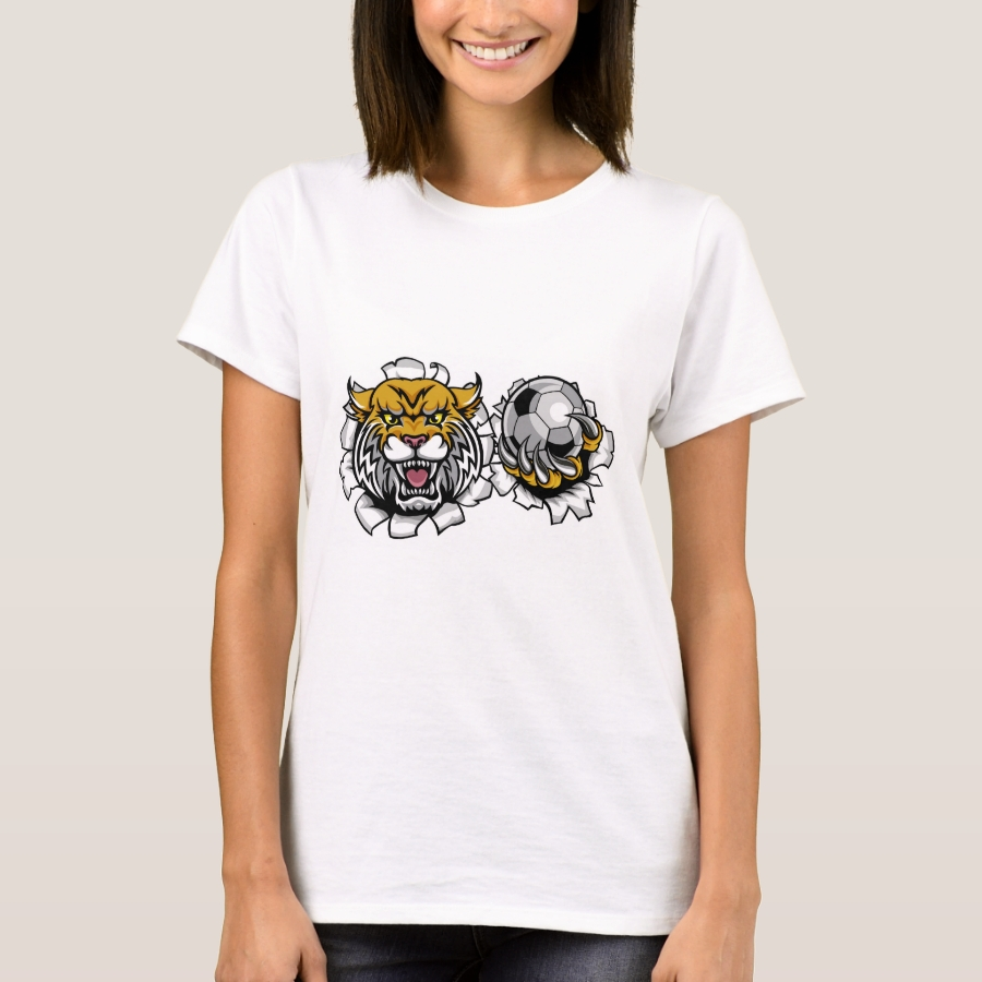 Wildcat Holding Soccer Ball Breaking Background T-Shirt - Best Selling Long-Sleeve Street Fashion Shirt Designs
