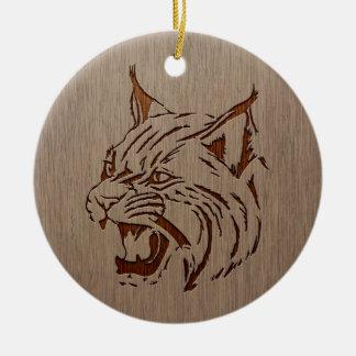 Wildcat illustration engraved on wood design ceramic ornament