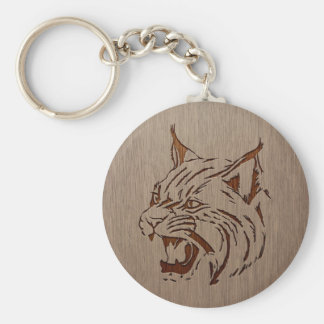Wildcat illustration engraved on wood design keychain