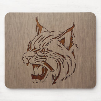 Wildcat illustration engraved on wood design mouse pad