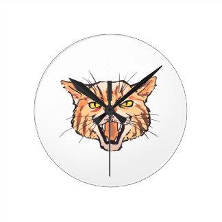 Wildcat Mascot Round Clock