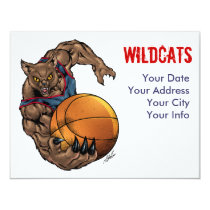 wildcats, wildcat, basketball, blue, red, elementary, middle, high, school, college, al rio, Convite com design gráfico personalizado