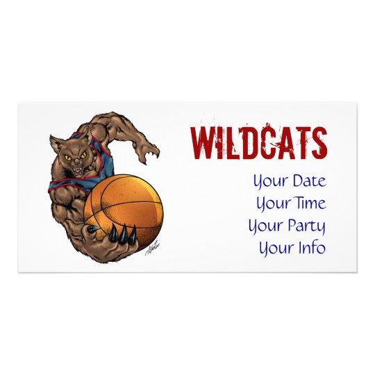 Wildcats Basketball art Blue Shirt, Red Stripe Card