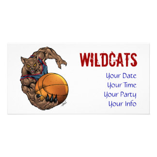 Wildcats Basketball art Blue Shirt, Red Stripe Personalized Photo Card