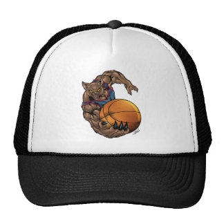Wildcats Basketball art Blue Shirt, Red Stripe Trucker Hat