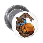 Wildcats Bobcats Basketball Blue, White Stripe 2 Inch Round Button