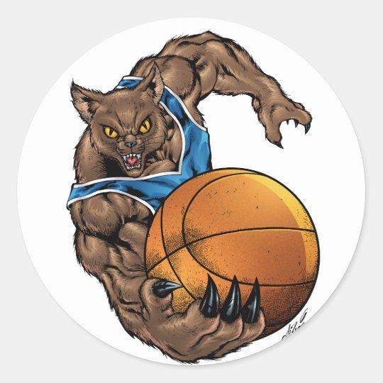 Wildcats Bobcats Basketball Blue, White Stripe Classic Round Sticker