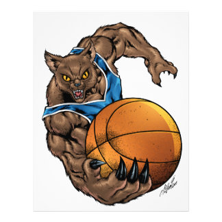 Wildcats Bobcats Basketball Blue, White Stripe Letterhead Template