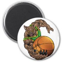 wildcats, wildcat, basketball, team, green, yellow, elementary, middle, high, school, college, rio, bobcats, bobcat, Ímã com design gráfico personalizado