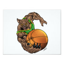 wildcats, wildcat, basketball, team, green, yellow, elementary, middle, high, school, college, rio, bobcats, bobcat, Invitation with custom graphic design