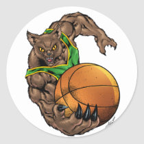 wildcats, wildcat, basketball, team, green, yellow, elementary, middle, high, school, college, rio, bobcats, bobcat, Sticker with custom graphic design
