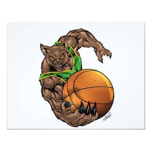 Wildcats Bobcats Basketball Green, Yellow Stripe 4.25x5.5 Paper Invitation Card
