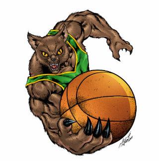 Wildcats Bobcats Basketball,  Green, Yellow Stripe Statuette