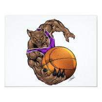 wildcats, wildcat, basketball, team, purple, white, elementary, middle, high, school, college, rio, keystone, ohio, bobcat, bobcats, Invitation with custom graphic design