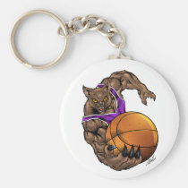 wildcats, wildcat, basketball, team, purple, white, elementary, middle, high, school, college, rio, keystone, ohio, bobcat, bobcats, Keychain with custom graphic design