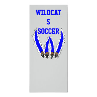 Wildcats Claw Ripping Through Design - Blue 4x9.25 Paper Invitation Card