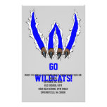 """Wildcats Claw Ripping Through Design - Blue 5.5"""" X 8.5"""" Flyer"""