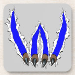 Wildcats Claw Ripping Through Design - Blue Beverage Coaster