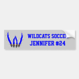 Wildcats Claw Ripping Through Design - Blue Bumper Sticker