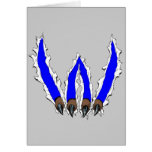 Wildcats Claw Ripping Through Design - Blue Card