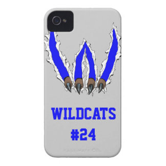 Wildcats Claw Ripping Through Design - Blue iPhone 4 Case-Mate Case