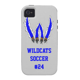 Wildcats Claw Ripping Through Design - Blue Vibe iPhone 4 Covers