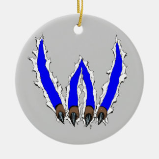 Wildcats Claw Ripping Through Design - Blue Ceramic Ornament