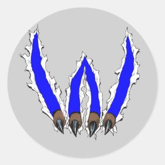 Wildcats Claw Ripping Through Design - Blue Classic Round Sticker