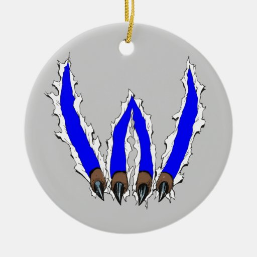 Wildcats Claw Ripping Through Design - Blue Double-Sided Ceramic Round Christmas Ornament