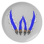 Wildcats Claw Ripping Through Design - Blue Melamine Plate