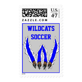 Wildcats Claw Ripping Through Design - Blue Postage