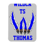Wildcats Claw Ripping Through Design - Blue Vinyl Magnets