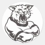 Wildcats Mascot Round Stickers