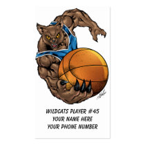 wildcats, wildcat, bobcat, bobcats, basketball, team, blue, white, elementary, middle, high, school, college, rio, kentucky, Business Card with custom graphic design