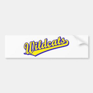 Wildcats script logo in gold and blue car bumper sticker