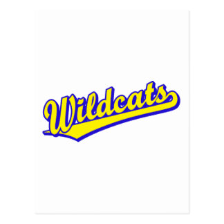 Wildcats script logo in gold and blue postcard